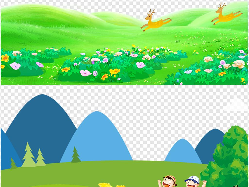 免抠元素 花纹边框 卡通手绘边框 > 卡通绿色草地草坪学生开学季高清