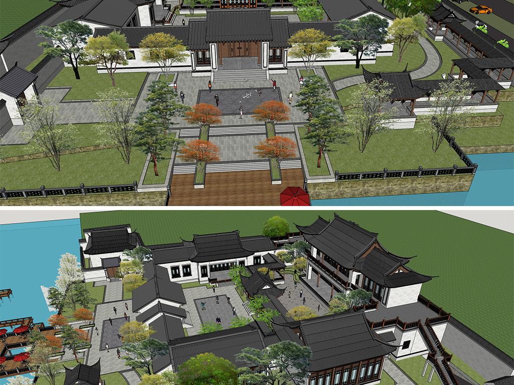 广场园林中式景观别墅中式景观庭院中式别墅建筑设计设计方案度假中式