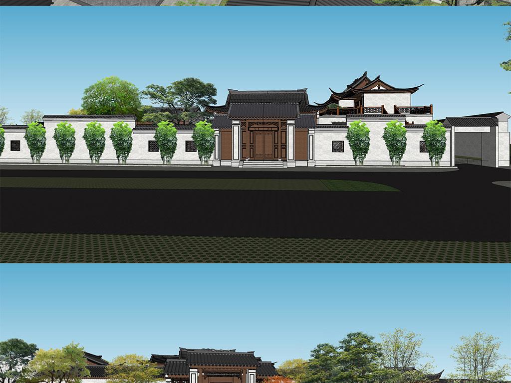 新中式别墅庭院景观中式仿古度假山庄酒店建筑设计方案