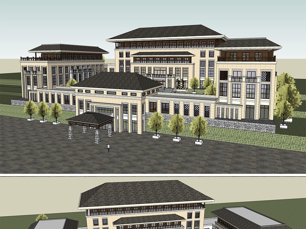 欧式建筑新古典建筑现代建筑住宅建筑建筑会所建筑会所模型中式生态