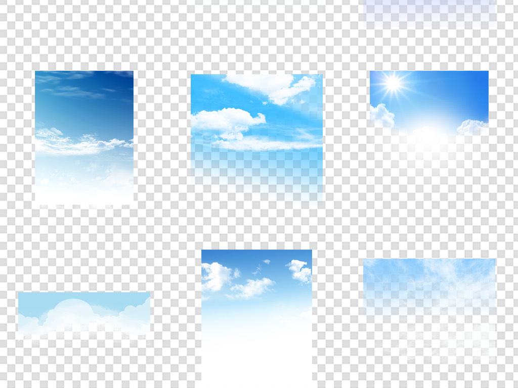 卡通云朵背景水彩清新蓝天风景蓝色手绘天空蓝天云彩白云天空云彩天空