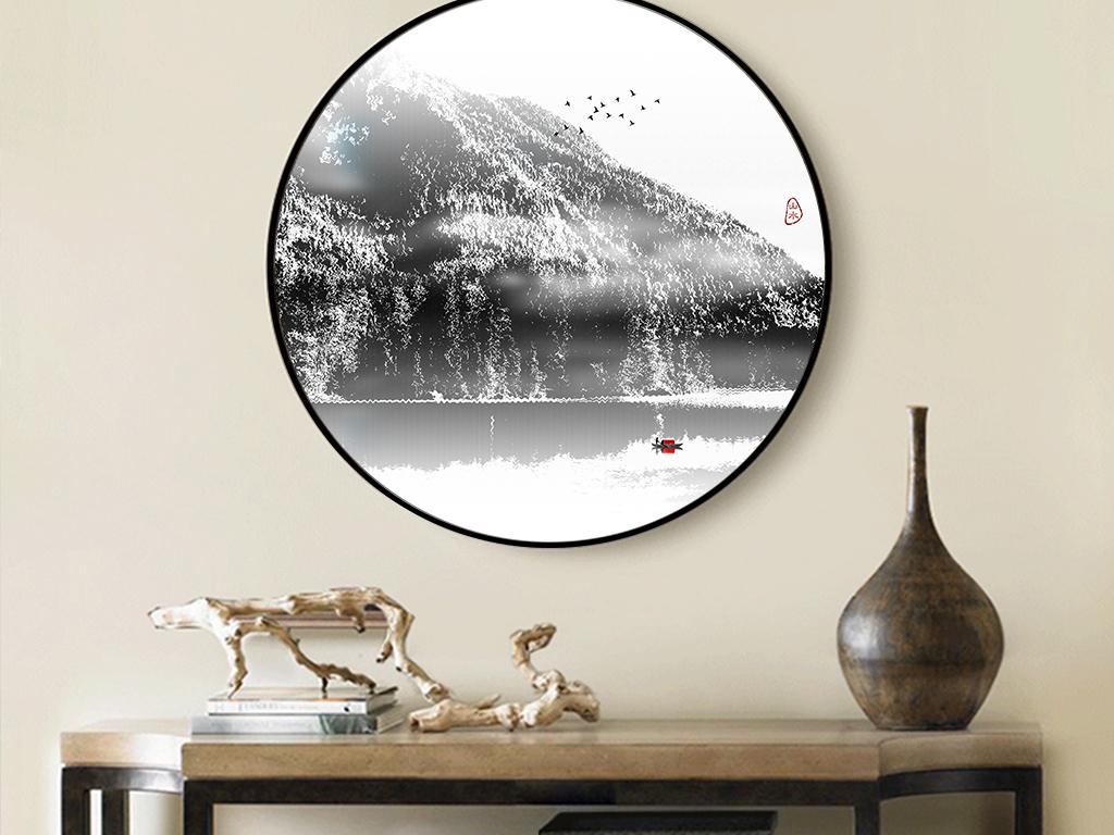 新中式客厅写意山水装饰画黑白画山水风景画