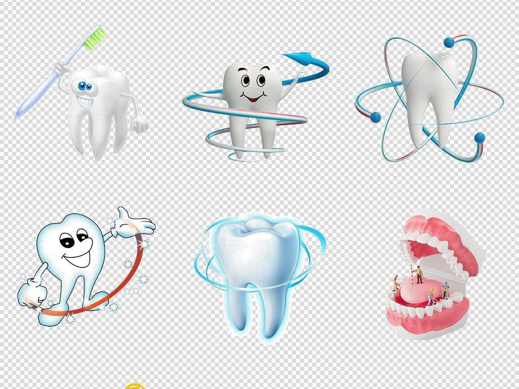 卡通手绘牙齿保护牙齿插画免扣素材