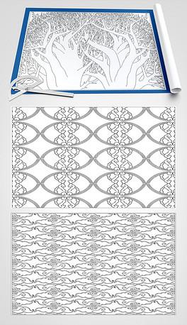 纹底背景套图CAD尺寸图dxf格式线条矢量图cad纹路在标注的修改数字图片