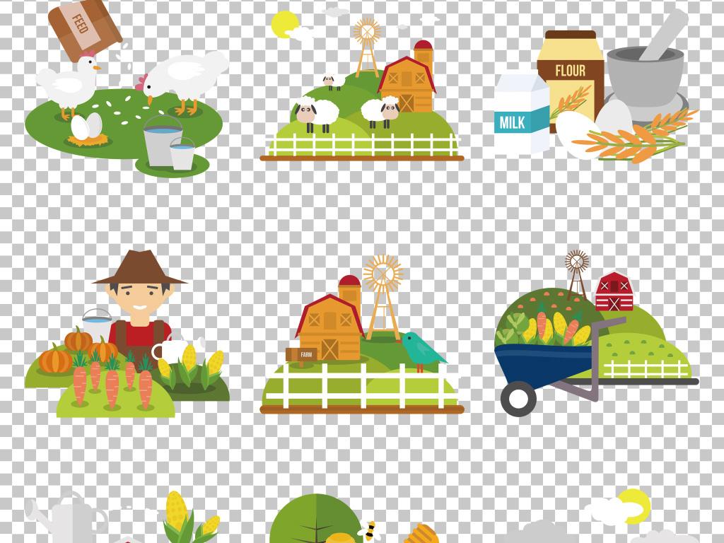 手绘卡通农场生态生活免抠png素材