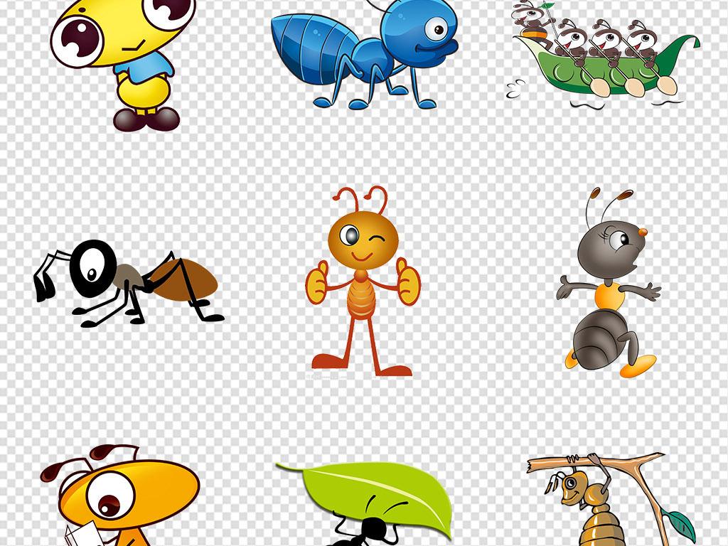 原创卡通手绘可爱蚂蚁动物png免抠素材