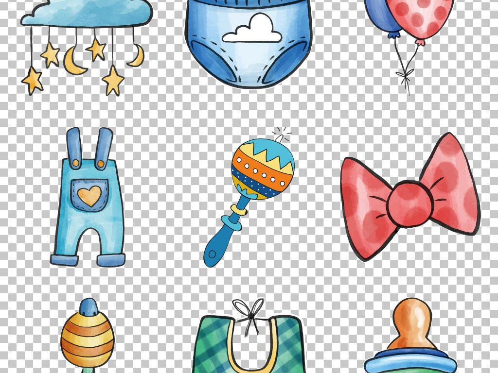 手绘卡通婴幼儿生活用品免抠png素材图片
