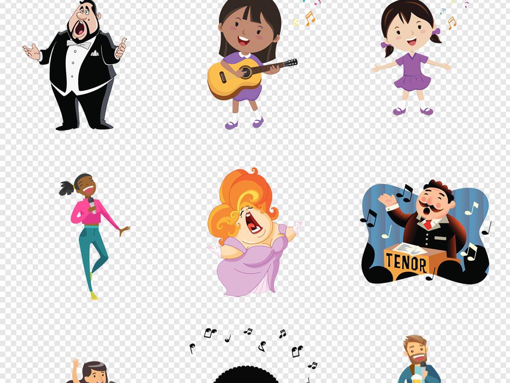 手绘卡通歌唱家唱歌的人儿童png素材图片