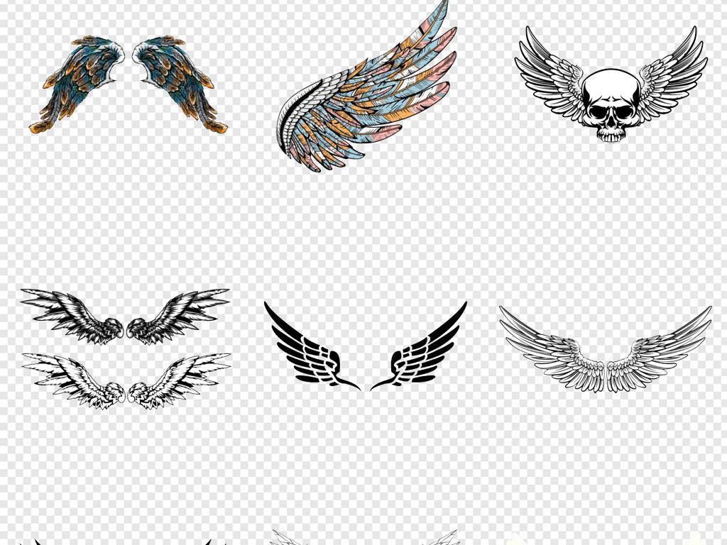 卡通手绘黑色白色彩色恶魔天使翅膀png图片素材 模板下载 3.68MB 其
