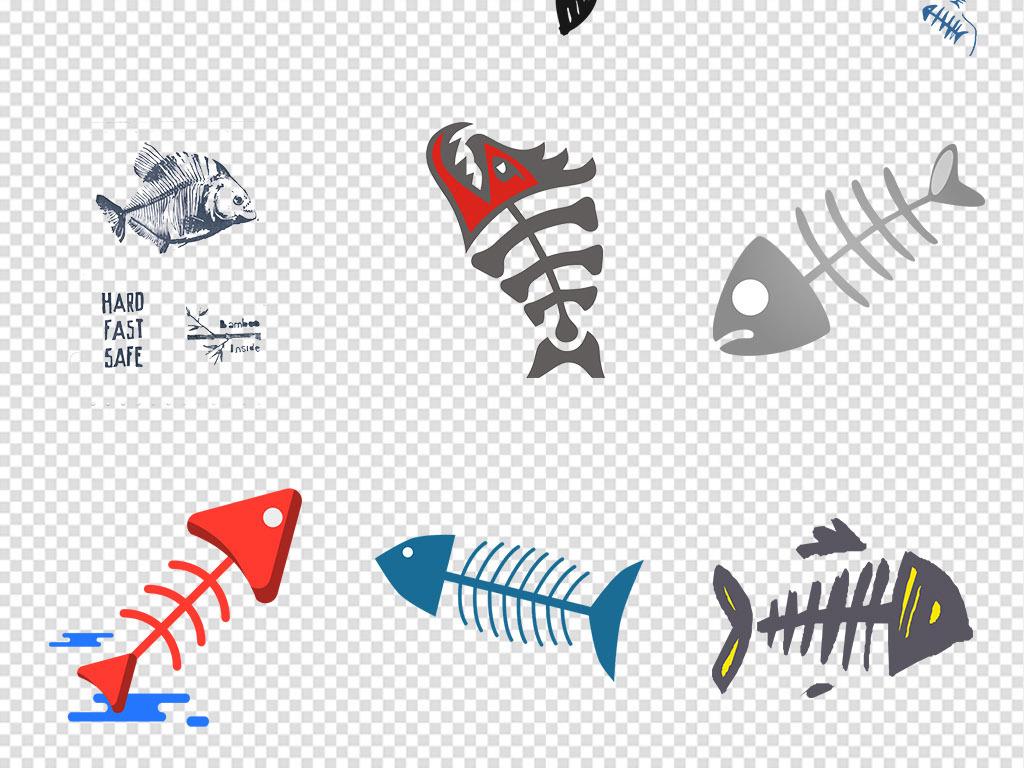 渔具鱼骨头手绘鱼图标鱼卡通鱼可爱卡通鱼卡通鱼骨头