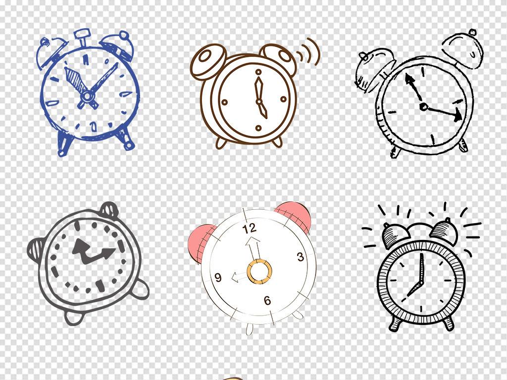 卡通手绘闹钟时钟钟表png免抠素材