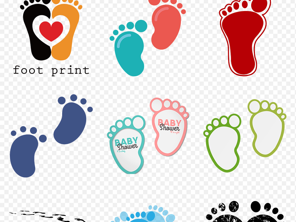 卡通儿童宝宝印脚丫手绘脚印海报素材背景图片png