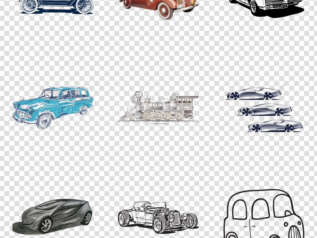 手绘线条线稿复古汽车png免扣背景