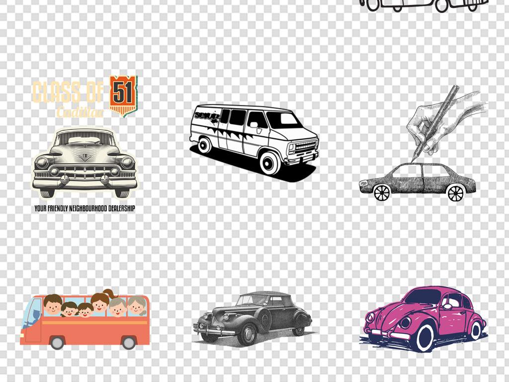 手绘线条线稿复古汽车png免扣背景图片素材_模板下载