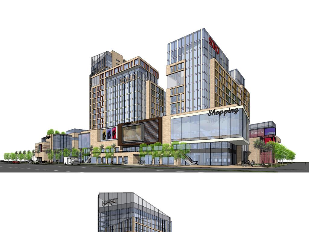 现代风格办公公寓商业街建筑模型设计图下载(图片5.4)