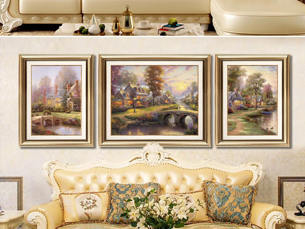 欧式唯美田园风景美式山水油画三联装饰画