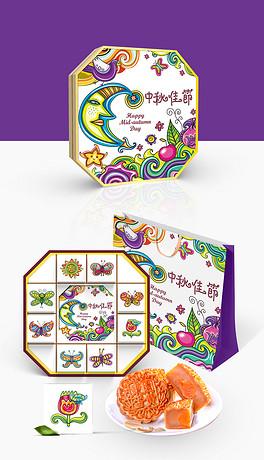 简约时尚绘画中秋月饼礼盒包装设计模板图片素材 高清ai下载 12.06MB 美食包装大全