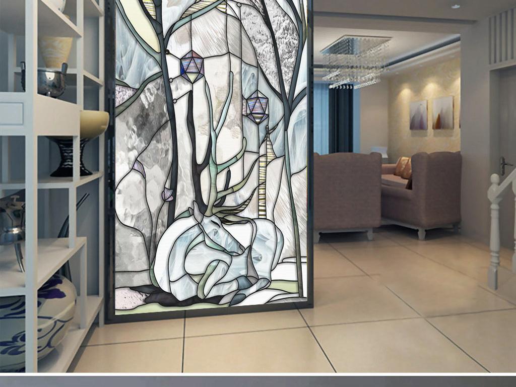 装饰画 北欧装饰画 森林风景装饰画 > 欧式山林手绘动物植物玻璃琉璃
