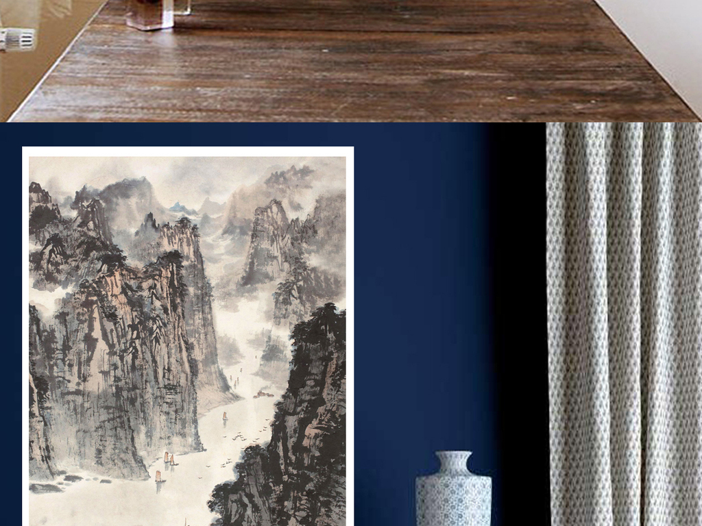 北欧风格创意风景艺术玄关画现代客厅图片设计素材_(.