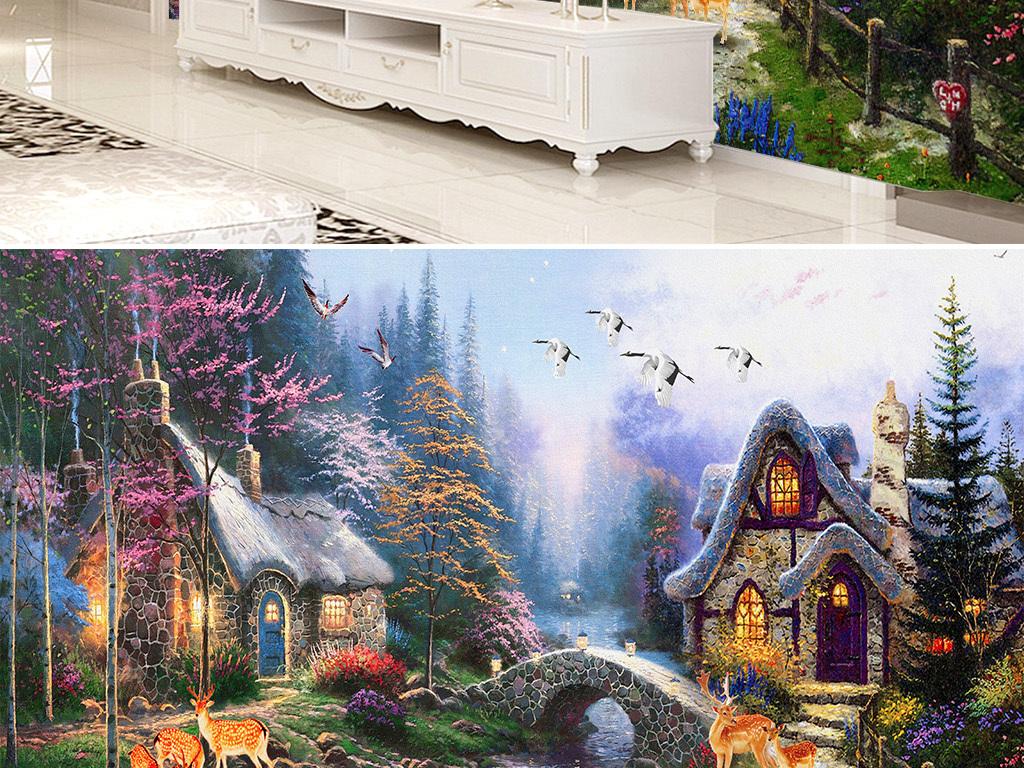 油画|立体油画电视背景墙 > 托马斯美式乡村油画风景树林小屋电视背景