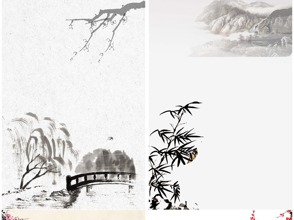 中国风古典水墨山水白鹤海报展板背景图
