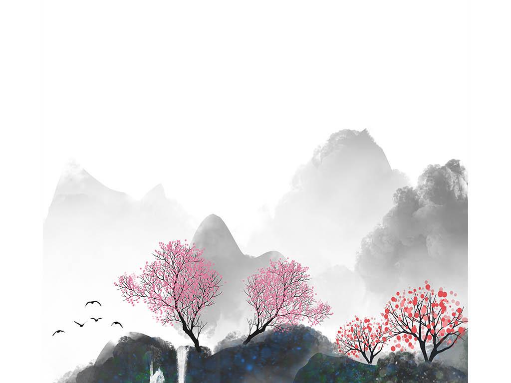 原创新中式水墨山水风景飞鸟玄关装饰画