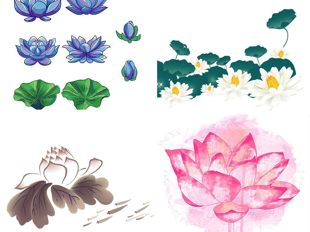 背景清新荷花图片手绘水墨荷花古风夏荷荷花夏荷莲花国学素材花朵荷叶