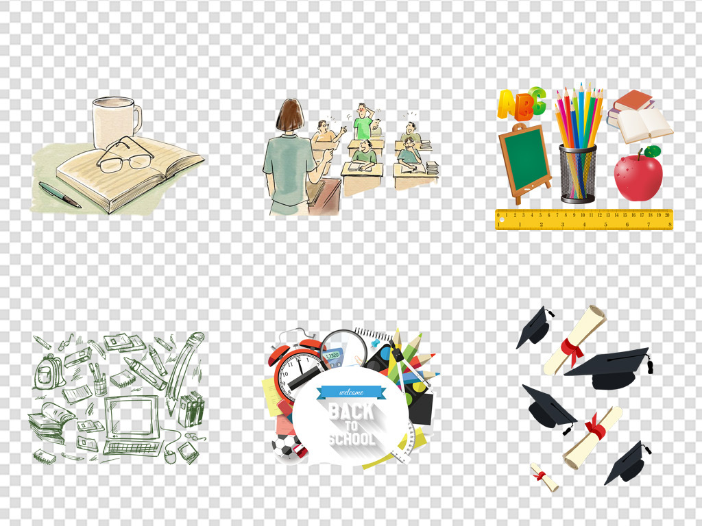 开学季手绘学习用品学生招生免扣png