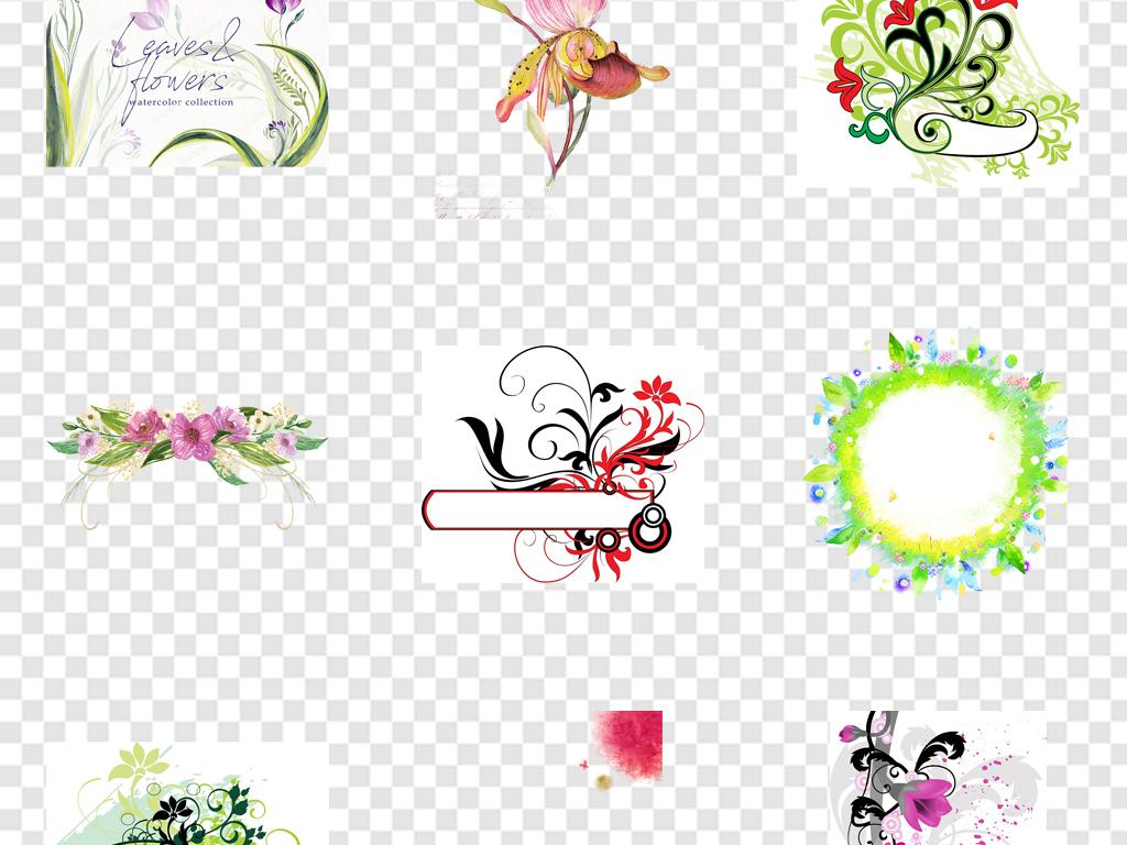 免抠元素 花纹边框 卡通手绘边框 > 卡通花卉元素清新背景  素材图片