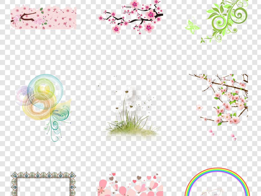 免抠元素 花纹边框 卡通手绘边框 > 卡通花卉元素小清新花卉  素材