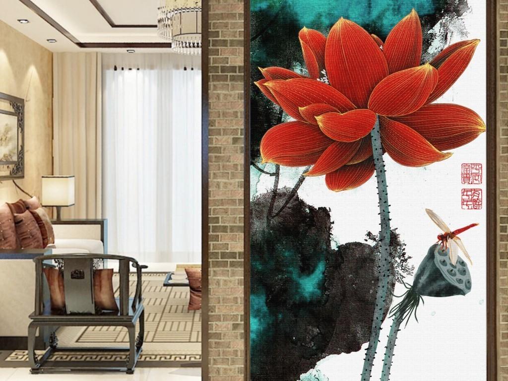 新中式手绘水彩荷塘水墨荷花禅意莲子卧室玄关装饰画