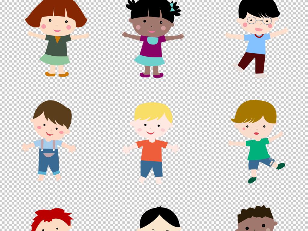 卡通可爱幼稚园小孩儿童png素材平面海报