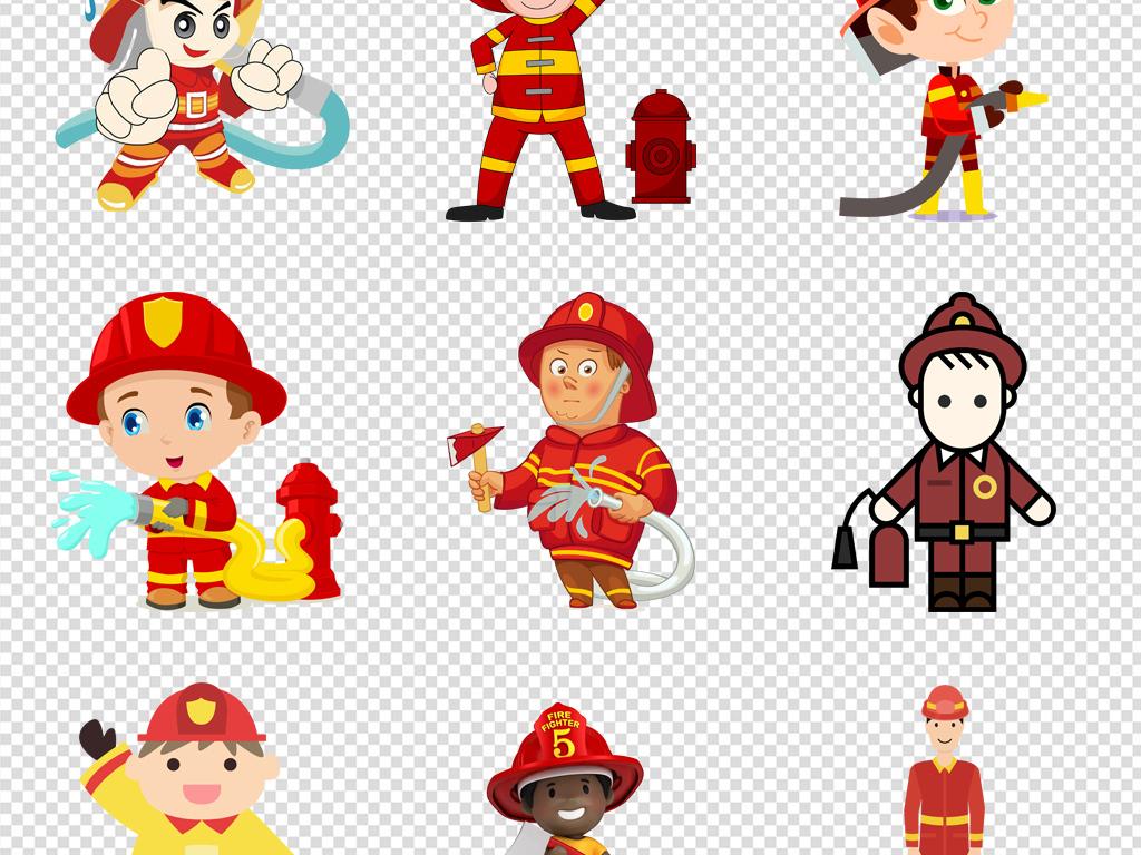 卡通手绘消防员人物png免扣元素