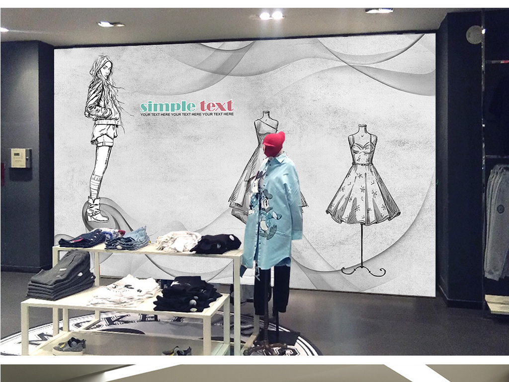 素色手绘黑白时尚服装时装背景墙装饰画