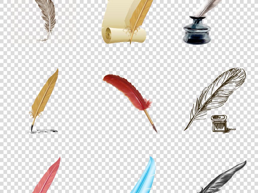 西欧北非文艺手绘水彩羽毛笔羽毛png素材