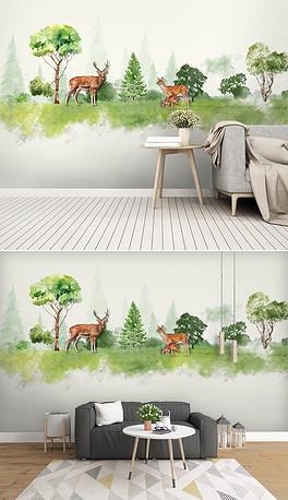 北欧风水彩手绘麋鹿森林儿童房背景墙壁纸壁-PSD森林卡通背景 PSD