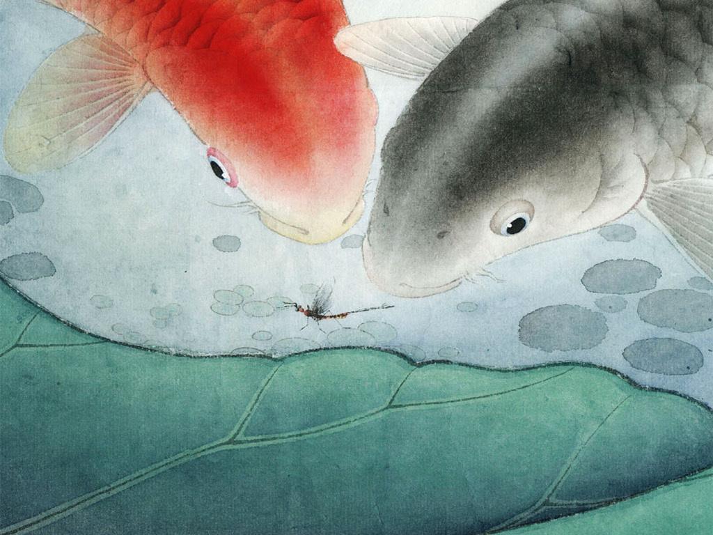 荷花鲤鱼工笔画