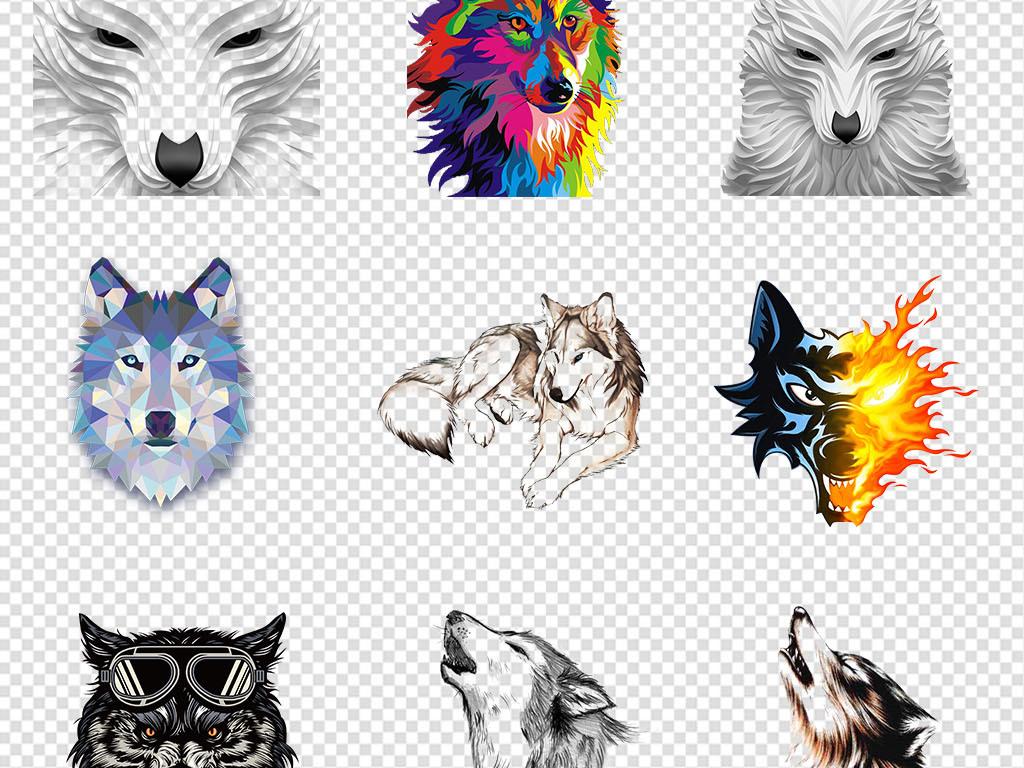 免抠元素 自然素材 动物 > 卡通手绘狼头狼图案狼图腾动物png素材  素