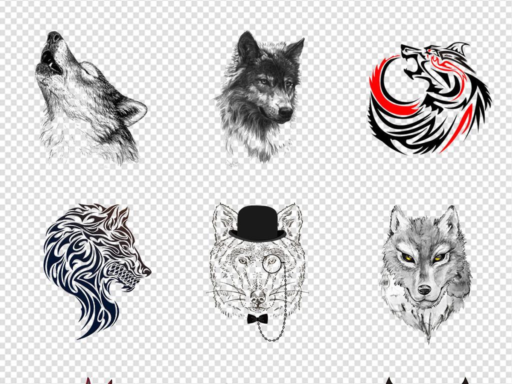 企业文化手绘狼狼头像狼图案狼纹身狼剪影狼嚎