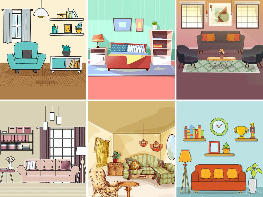 矢量手绘室内家具场景图客厅背景家具摆设图海报背景