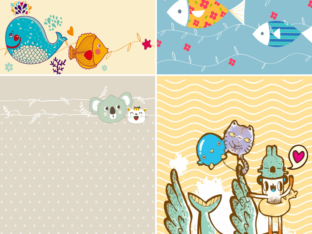 手绘卡通小动物小清新展板海报背景图