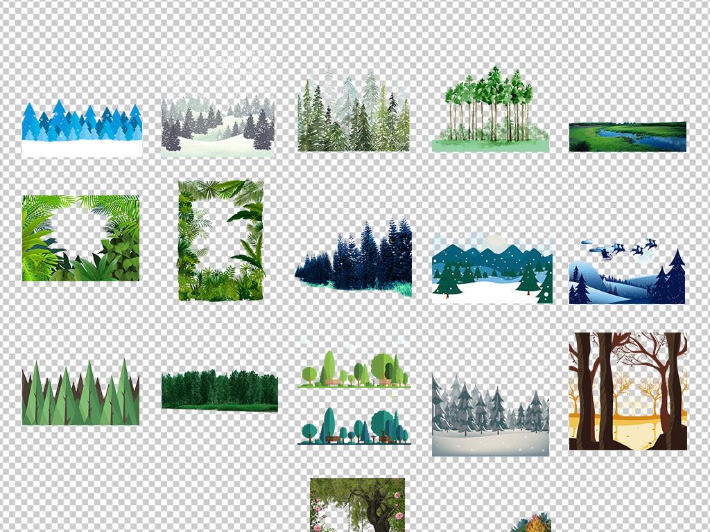 森林树木免扣png素材