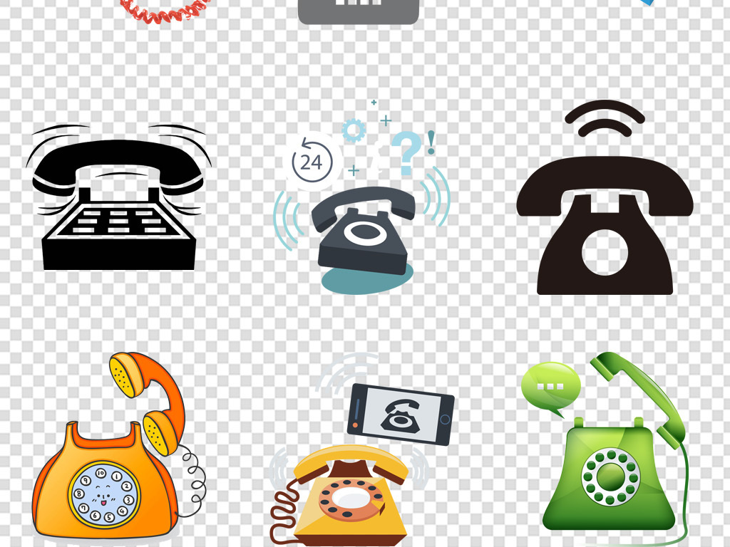 免抠元素 标志丨符号 图标 > 卡通电话座机免费咨询客服热线图标免扣