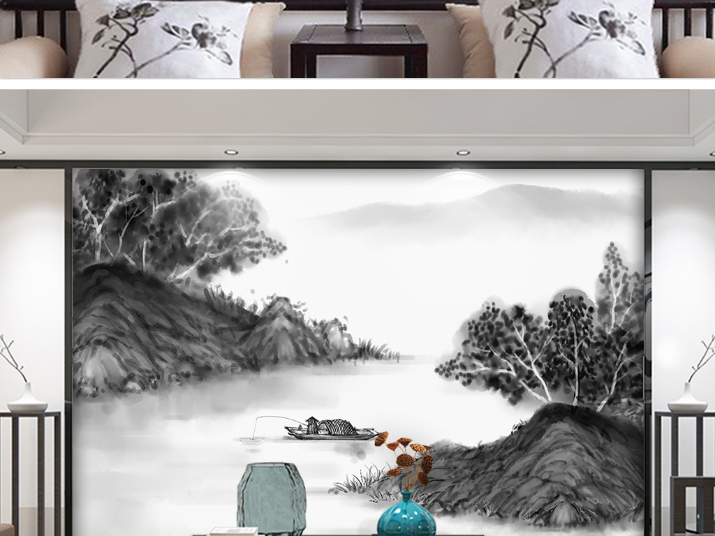 山水风景画 水墨画 > 飞鸟新中式抽象黑白水墨山水客厅电视背景墙
