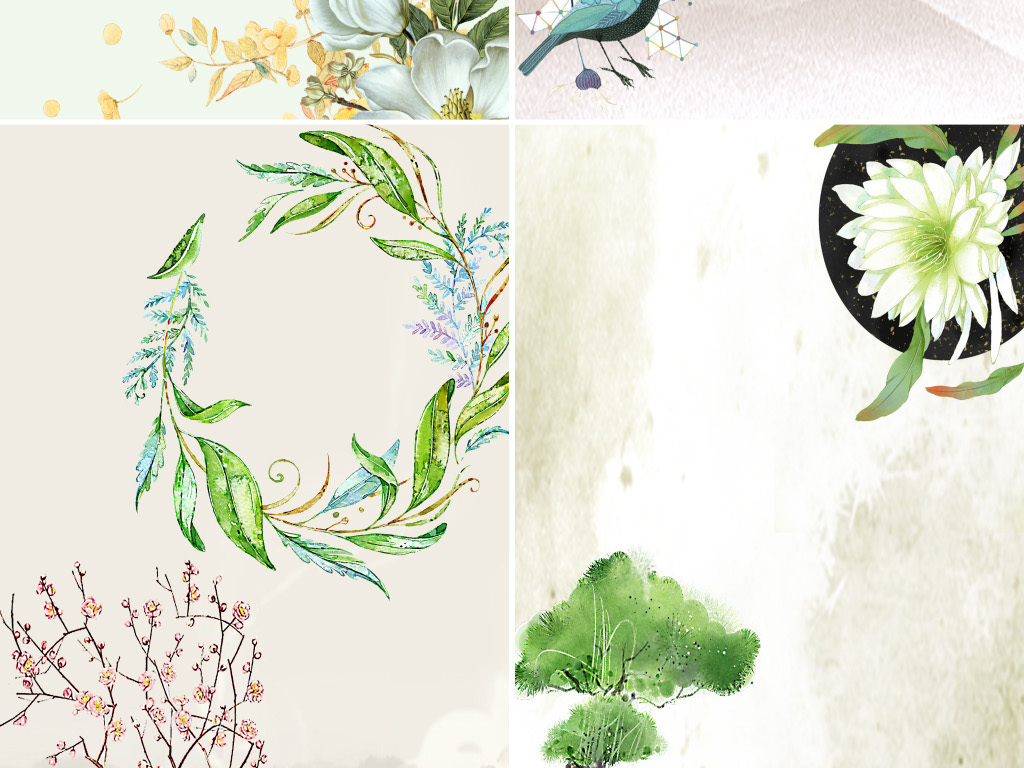 小清新手绘浪漫温馨花卉花纹海报背景图图片设计素材