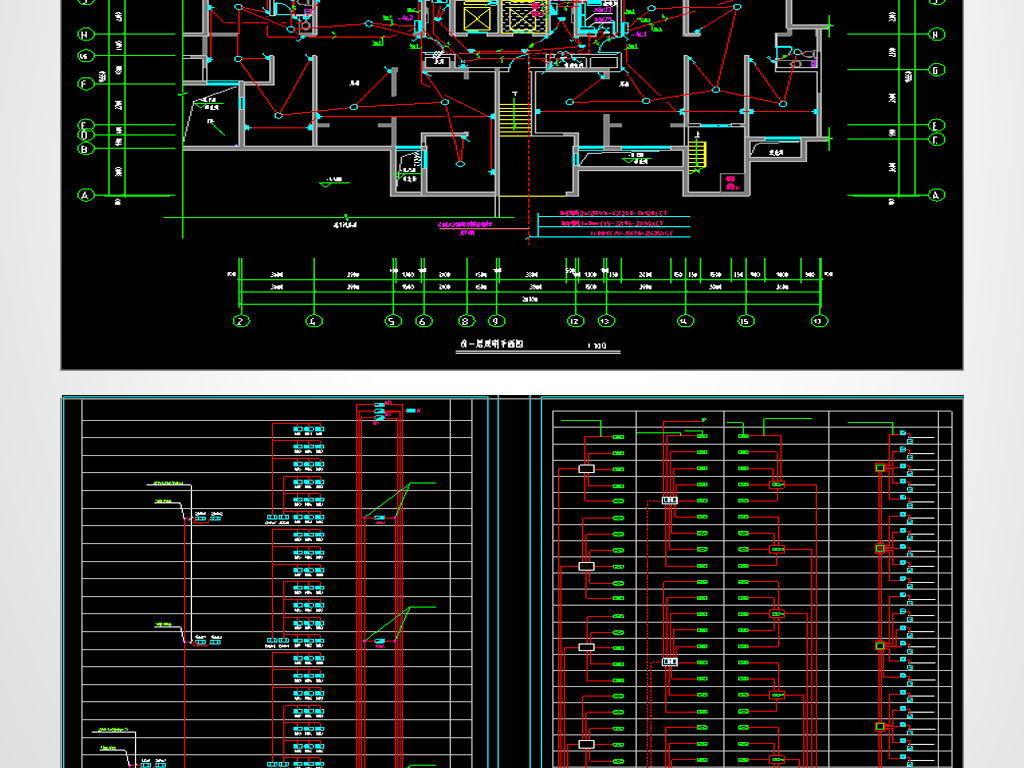 高层住宅楼cad电气设计图纸平面图下载(图片1.08mb)