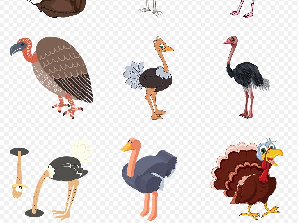 手绘卡通动物黑色鸵鸟奔跑海报素材背景图片png