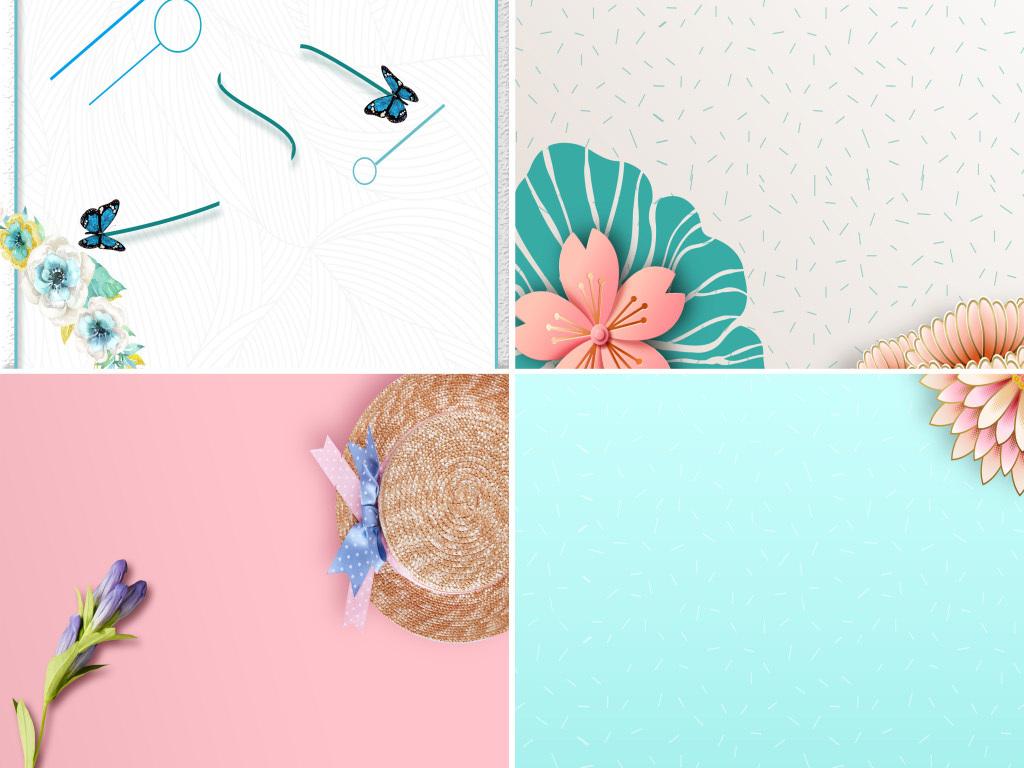蓝色小清新手绘花卉花纹展板海报背景图图片设计素材