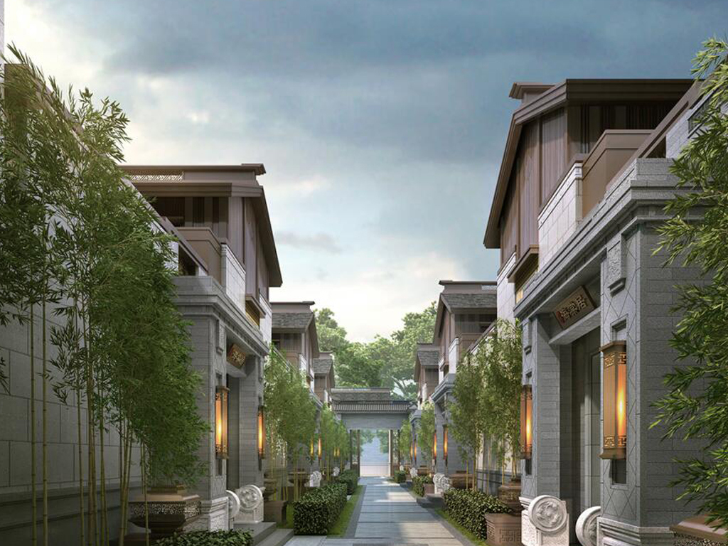 中式泰禾南京院子合院建筑景观su模型图片