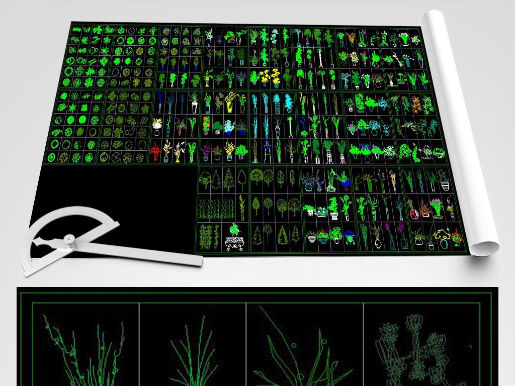 v字体字体植物花草CAD平立面图树木cad大全居中把的图片